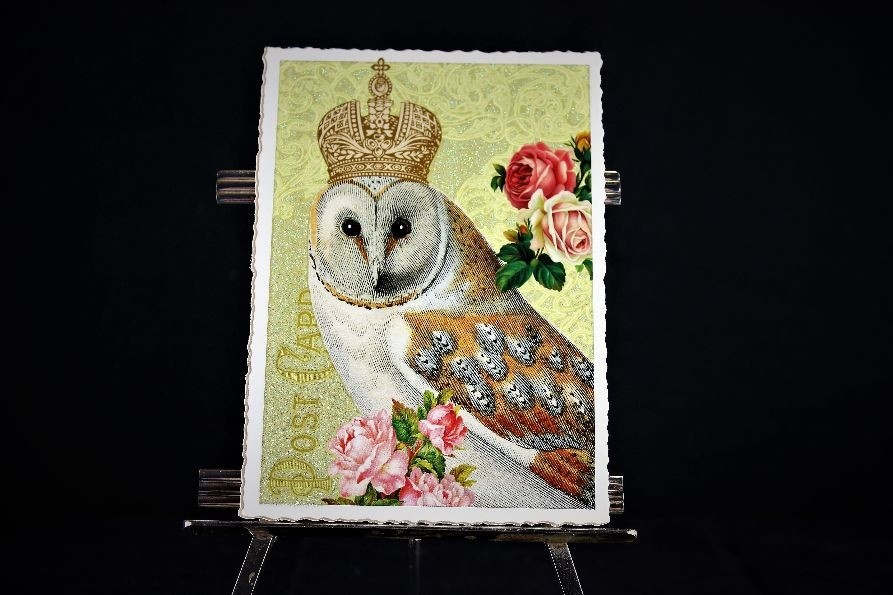 Postkarte Eule mit Krone